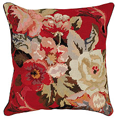 "Diagonal Flowers 20""X20"" Needlepoint Pillow"