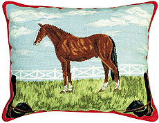 "NCU-704 Horse & Tack 16""x20"" Needlepoint pillow"