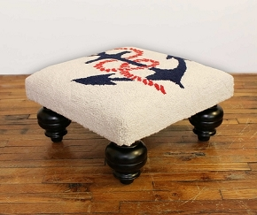 ANCHORS AWAY HOOKED WOOL STOOL