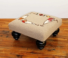 FISHING ROD HOOKED WOOL STOOL
