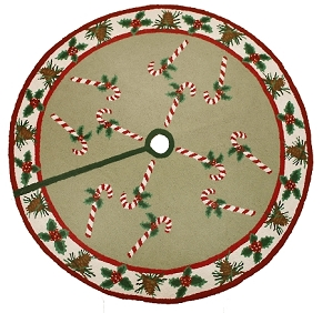 H342 CANDY CANE & PINE CONE TREE SKIRT