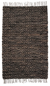 BLACK HEMP/COTTON DIAMONDS FLAT WEAVE