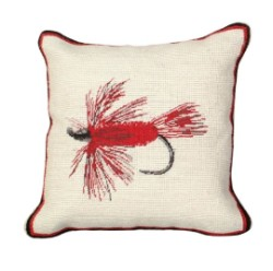 "Hair Wing Fly 12""X12"" Petit Point Needlepoint Pillow"