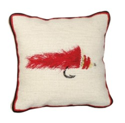 "Diver Fly 12"" x 12"" Petit Point Needlepoint Pillow"