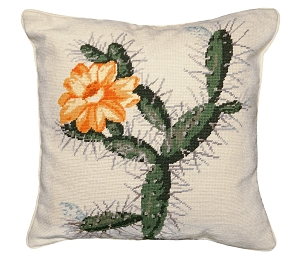 YELLOW FLOWER CACTUS NEEDLEPOINT PILLOW 18