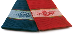 Crab and Lobster Embroidery Kitchen Towels