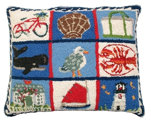 NCU909 Coastal Quilt Hooked Pillow