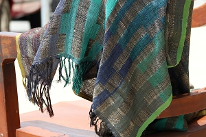 NLS4 TEAL STRIPE SHAWL