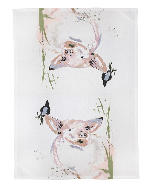 PIGGY WITH BIRD (R)Kitchen Towel