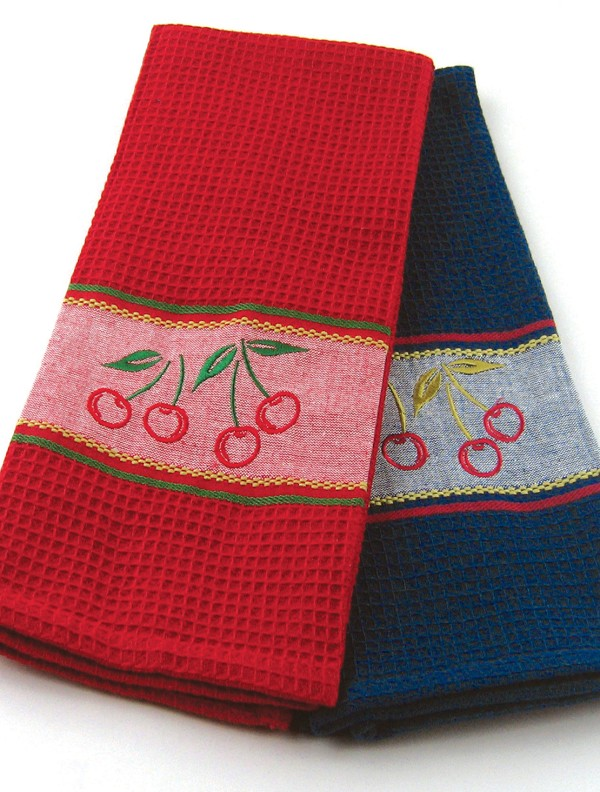 Cherry Embroidery Kitchen Towels