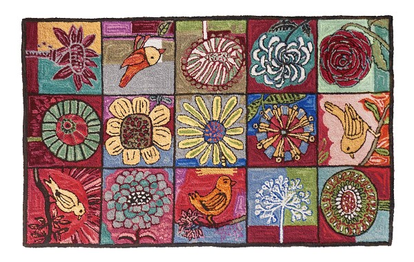 H809 Bloomer and Birds Hooked Rug