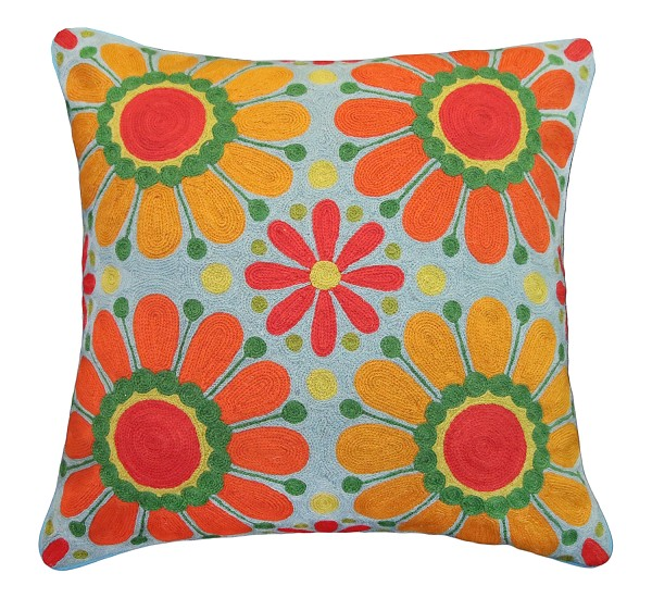 "NCE-4 Jana 20"" x 20"" Embroidered Pillow"