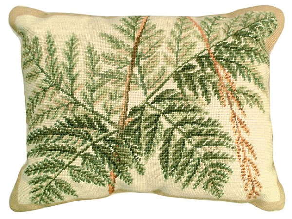 "NCU-111 Fern - Helene Verin 16""x20"" Needlepoint Pillow"