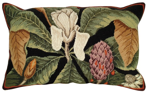 "NCU-120 Magnolia 18"" x 28"" Needlepoint Pillow"