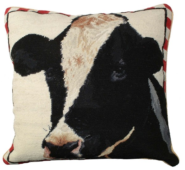 "NCU-197 Holstein Cow 20""x20"" Needlepoint Pillow"