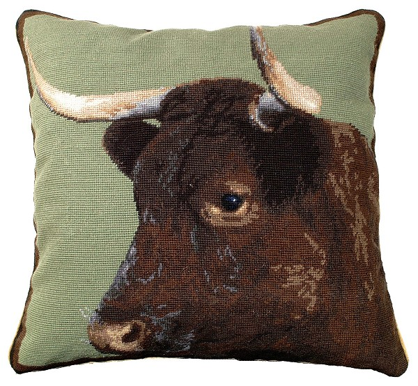 "NCU-198 Milking Devon Cow 20""x20"" Needlepoint Pillow"