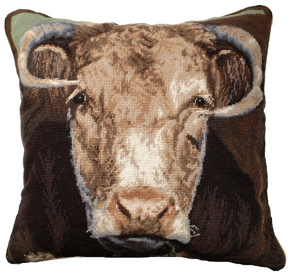 "NCU-199 Ralph the Bull 20""x20"" Needlepoint Pillow"