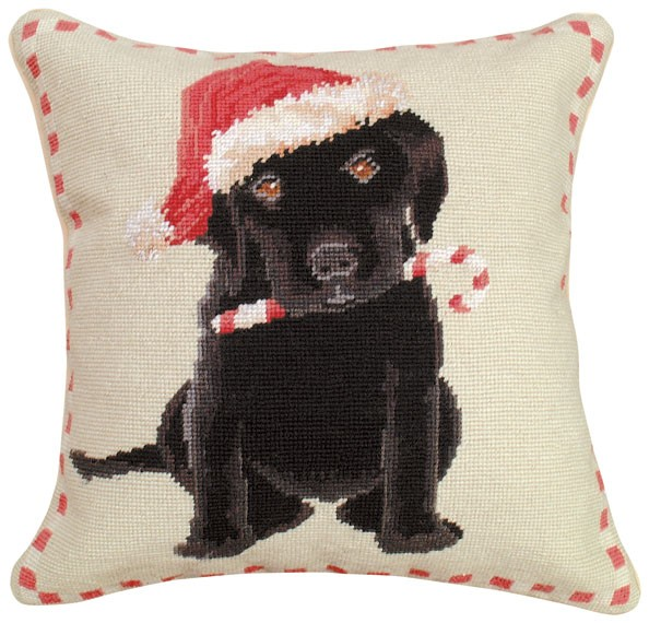 "NCU-502 Christmas Black Lab 16""x16"" Needlepoint Pillow"