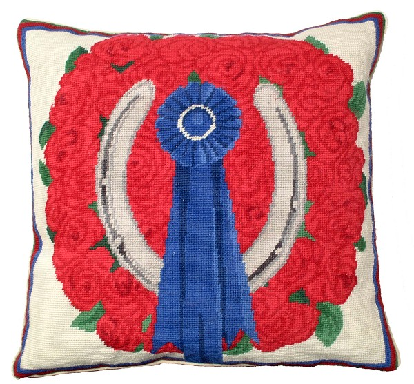 "NCU-775 Blue Ribbon & Roses 18""x18"" Needlepoint Pillow"