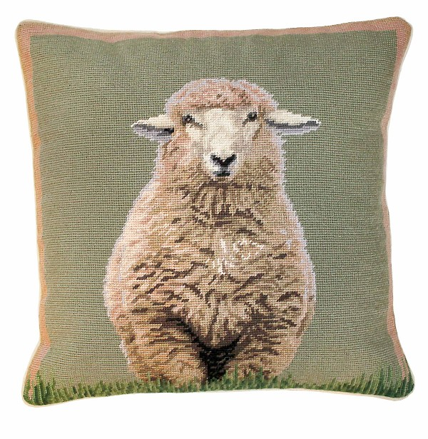 "NCU-785 Standing Sheep 18""x18"" Needlepoint Pillow"