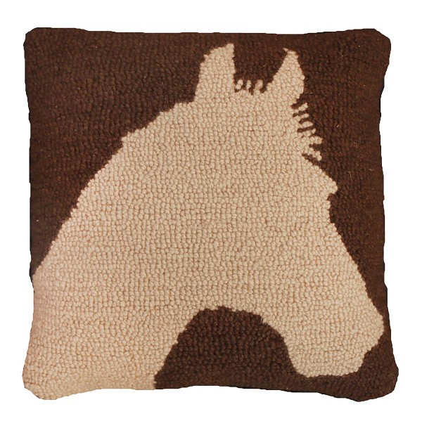"NCU-796  Silhouette Horse 18""x18"" Hooked Pillow"