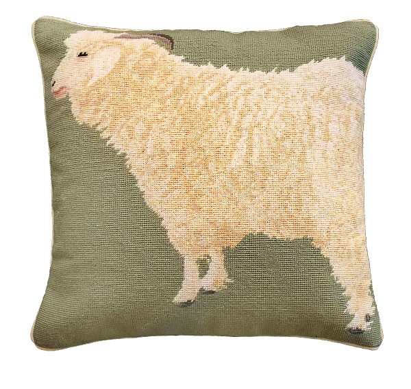 "NCU-799 Angora Goat 18""x18"" Needlepoint Pillow"