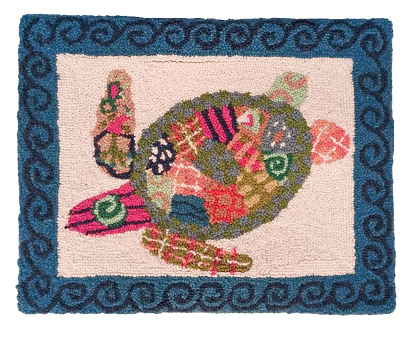 "NCU-900 Patchwork Sea Turtle Hooked Pillow 16""x20"""