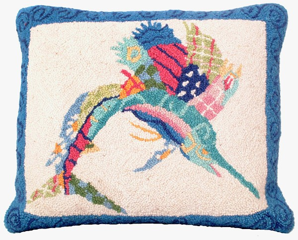 "NCU-902 Patchwork Sailfish Hooked Pillow 16""x20"""