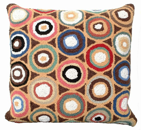 "NCU-905 Brown Pennies Hooked Pillow 18""x18"""