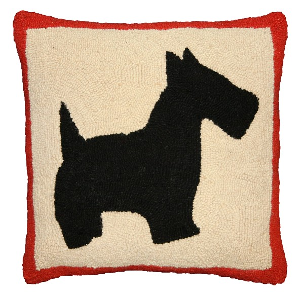 "NCU-922 Scottie 18""x18"" Hand Hooked Pillow"