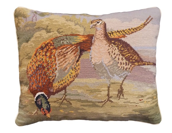 Ncu 162 Pheasants In The Field 16x20 Needlepoint Pillow