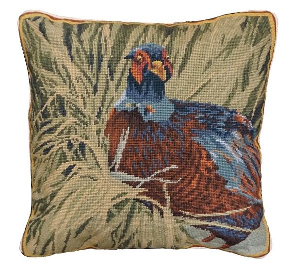 "NCU-956 Hiding Pheasant 18"" x 18"" Needlepoint Pillow"