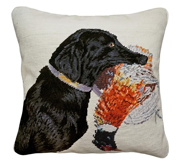 "NCU-959 Nice Catch 18"" x 18"" Needlepoint Pillow"