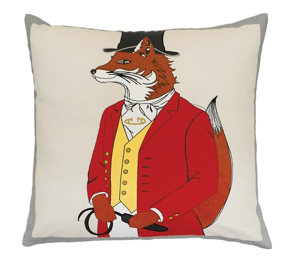 "NPE-038 Snooty Fox 20""x20"" Printed with Embroidery Pillow"