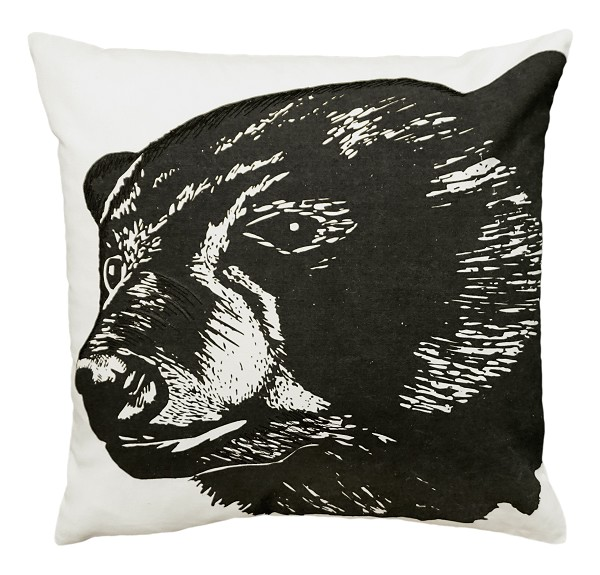 "NPE-048 Black Bear 20""x20"" Cotton Embroidered Pillow"