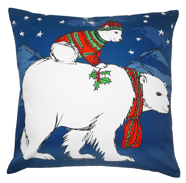 "NPE-063 Polar Bear 20""x20"" Printed Pillow"