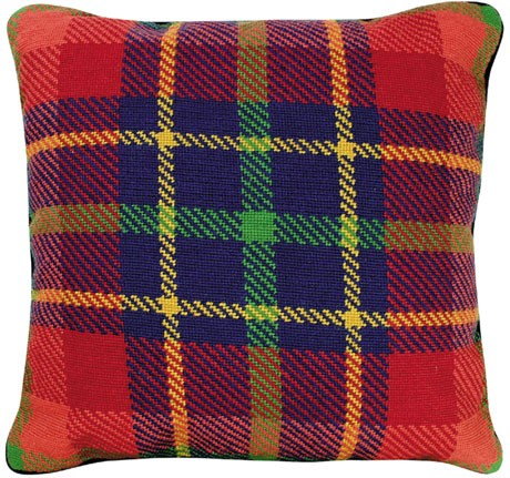 "NCV-18 Van Campen Red Plaid 20""x20"" Needlepoint Pillow"