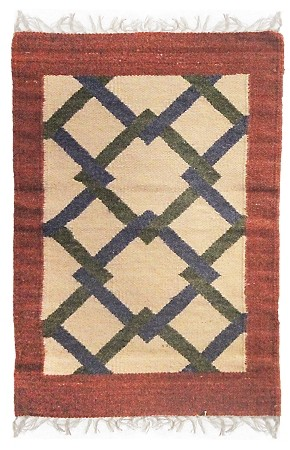 Red Link Flat Weave Rug