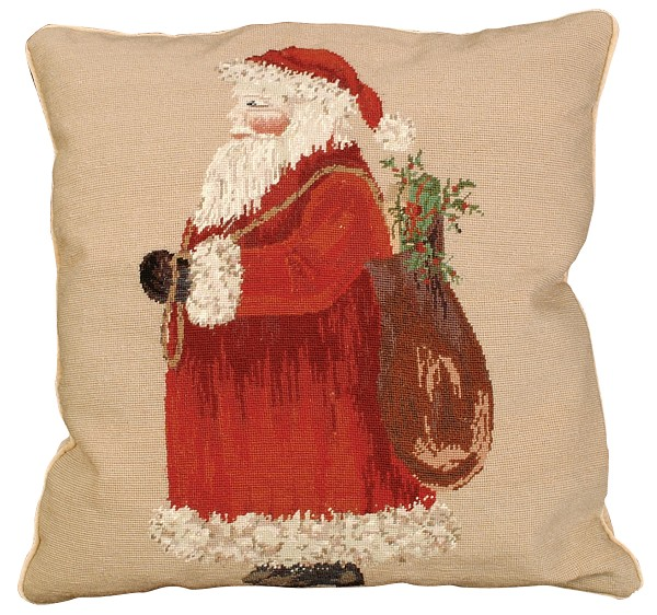 "NCU-515 Santa 18""x18"" Petit Point Pillow"