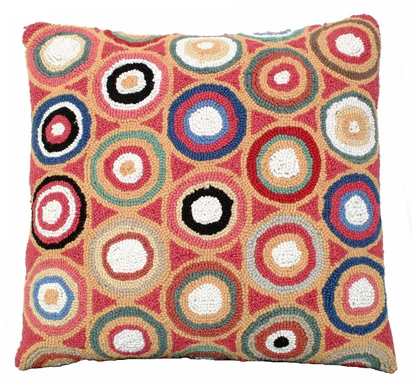 Red Pennies Hooked Pillow