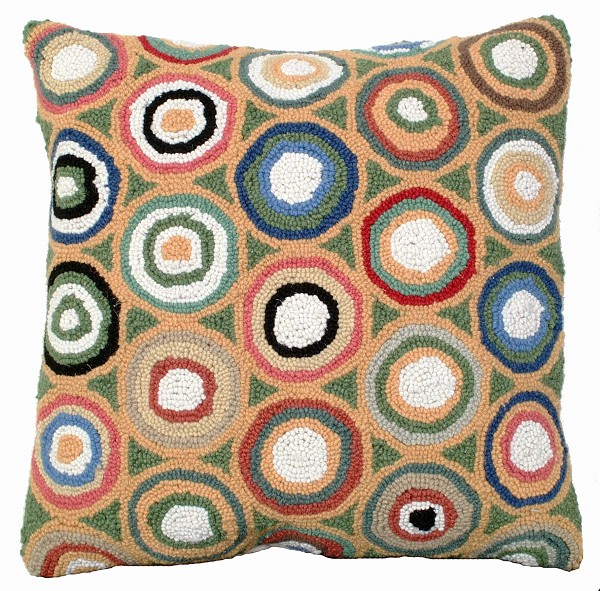 Green Pennies Hooked Pillow