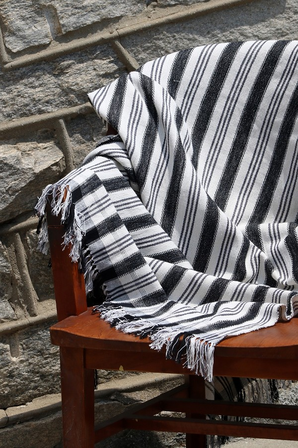 NLT003 BLACK & GREY STRIPE THROW